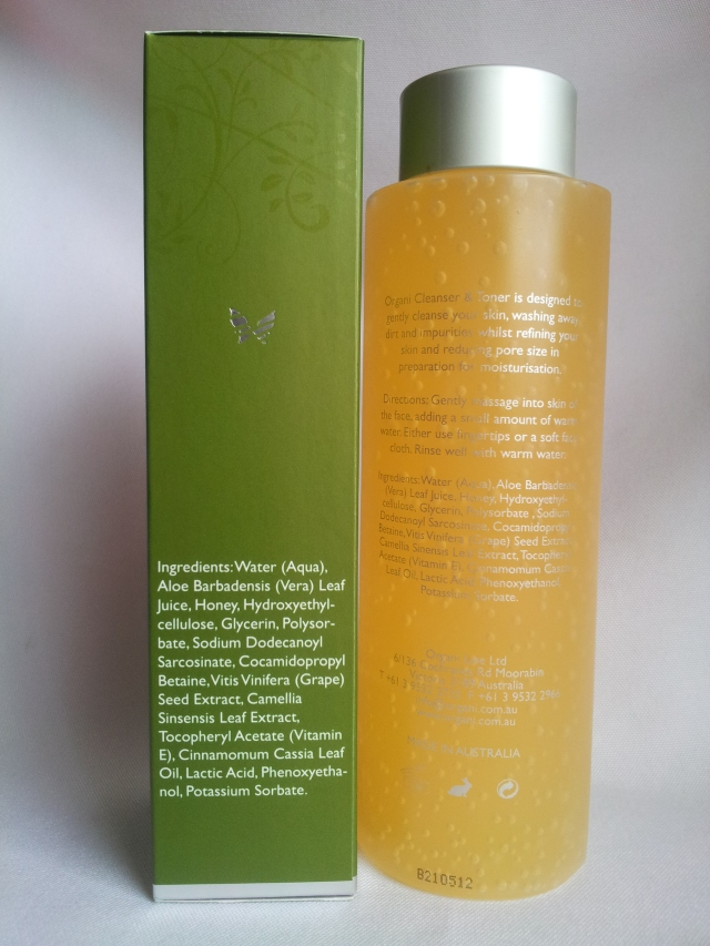 organi cleanser and toner review
