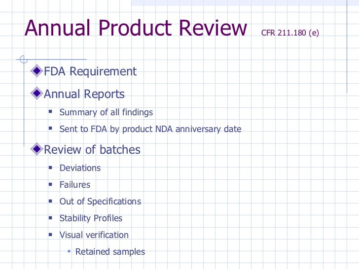 annual product quality review report sample